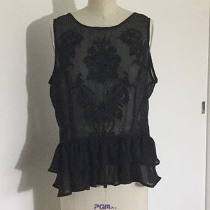 GUESS Black See Thru Sleeveless Top Size Large